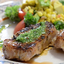 Iberico Pork Loin Steaks Grilled with Chimichurri and Avocado Corn Salad Recipe