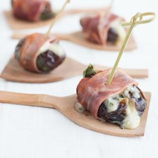 Grilled Chevre-Stuffed Dates Wrapped in Serrano Ham Recipe