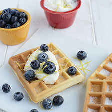 Waffles With Lemony Cream Cheese and Blueberries Recipe | Gourmet Food World