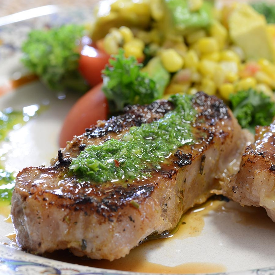Iberico Pork Loin Steaks Grilled With Chimichurri And