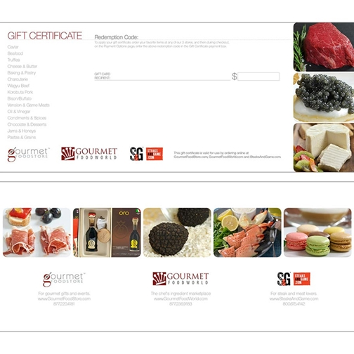 GourmetFoodWorld.com Printed Gift Certificate
