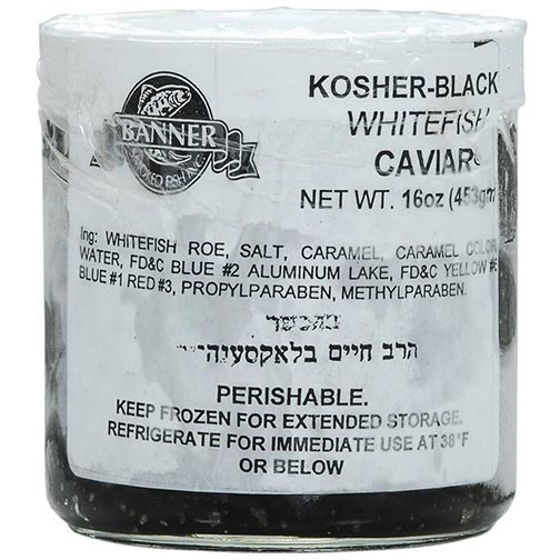 Kosher Black Whitefish Caviar - Orthodox Union