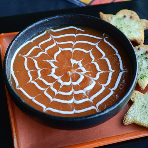 Spiderweb Soup & Halloween Croutons Recipe