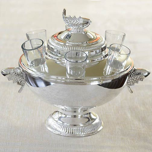 Sterling Silver Plated Caviar Server with 6 Vodka Glasses