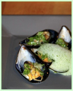 Broiled Mussels with Chive Foam
