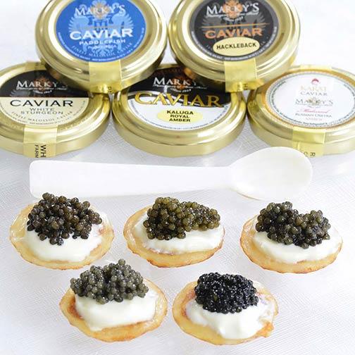 Russian osetra caviar sampler gift set gourmet food store.